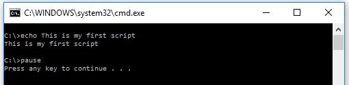 batch script output without echo