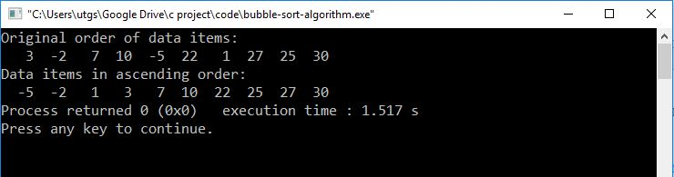 C program to sort array using bubble sort algorithm