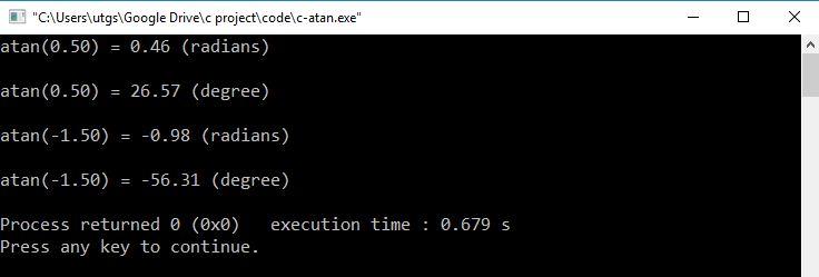 c function atan output