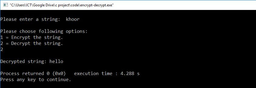 C Program To Encrypt And Decrypt The String (Source Code)