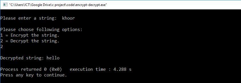 c decrypt string
