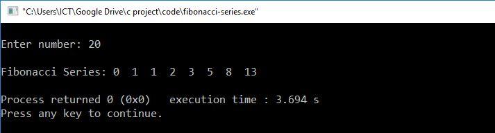 C programming fibonacci series