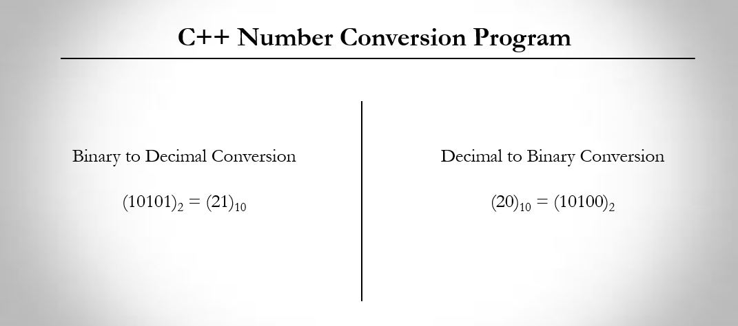 C++ program to convert binary number to decimal and decimal to binary