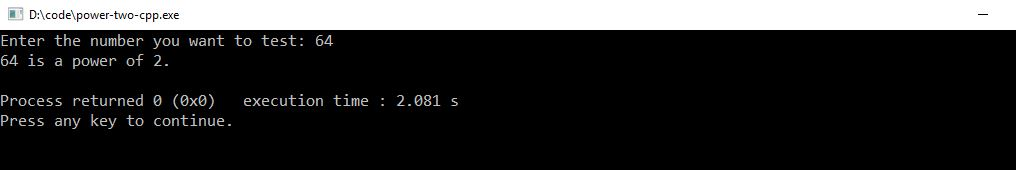 C++ program to check for the power of two output
