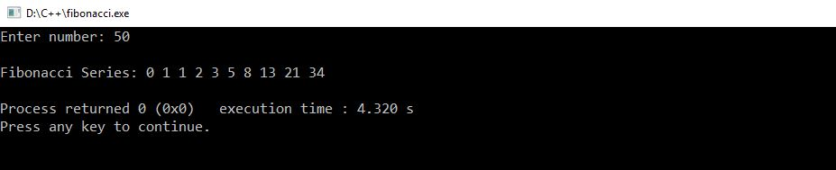 fibonacci series in C++