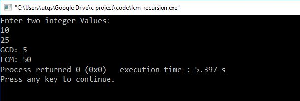 C program to find LCM and GCD using recursion