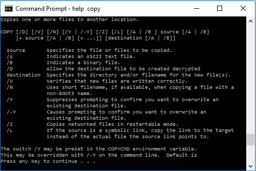 batch file command help copy
