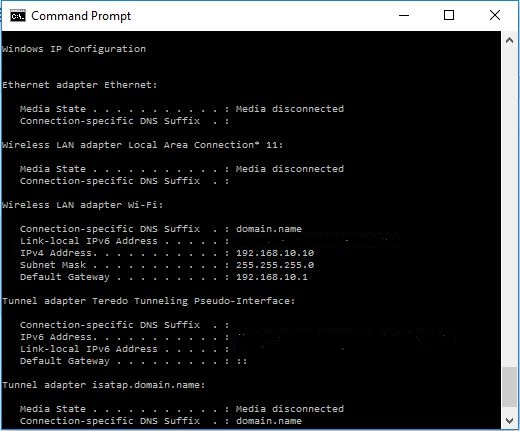 batch file command ipconfig