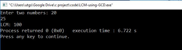 lcm using gcd