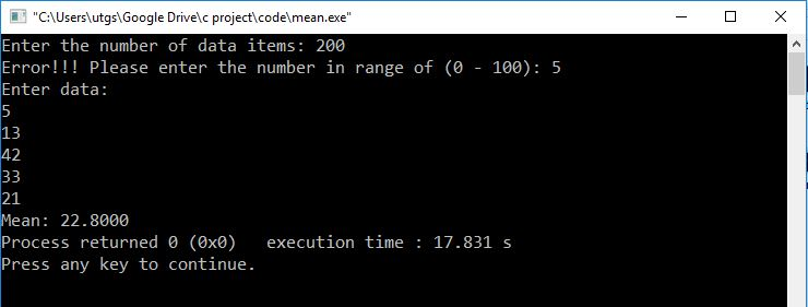 C program to calculate mean using arrays