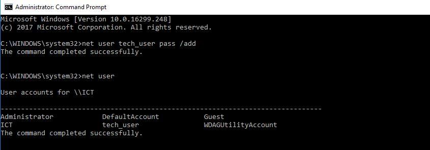 adding new user using net user command
