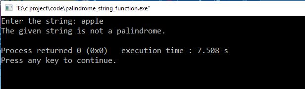 palindrome string function output