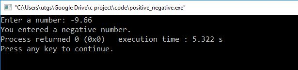 c program to check negative number