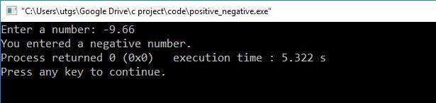 c program to check negative number