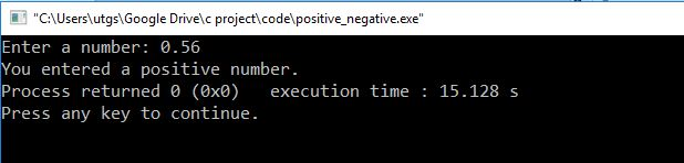 c program to check positive negative number