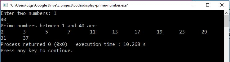 C program to display prime numbers