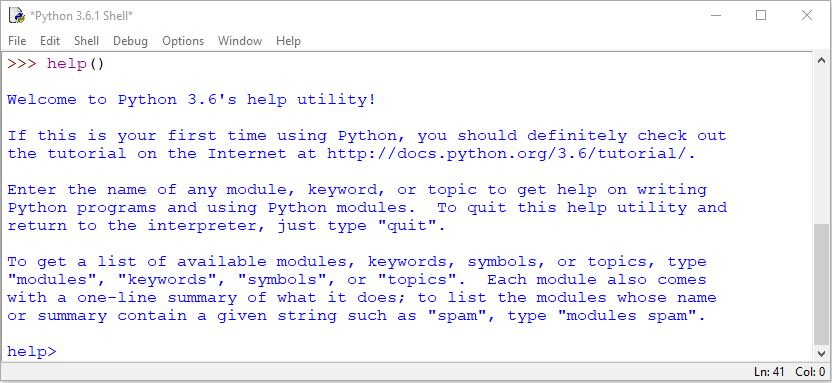Python help() function