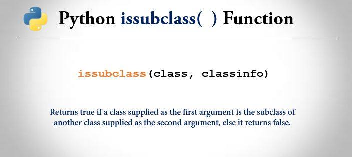 python issubclass() function