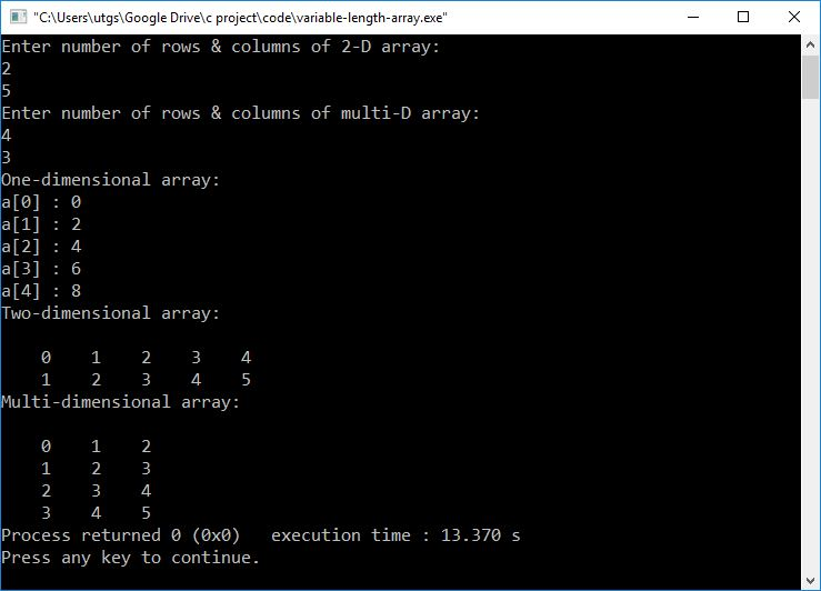 variable length array in C