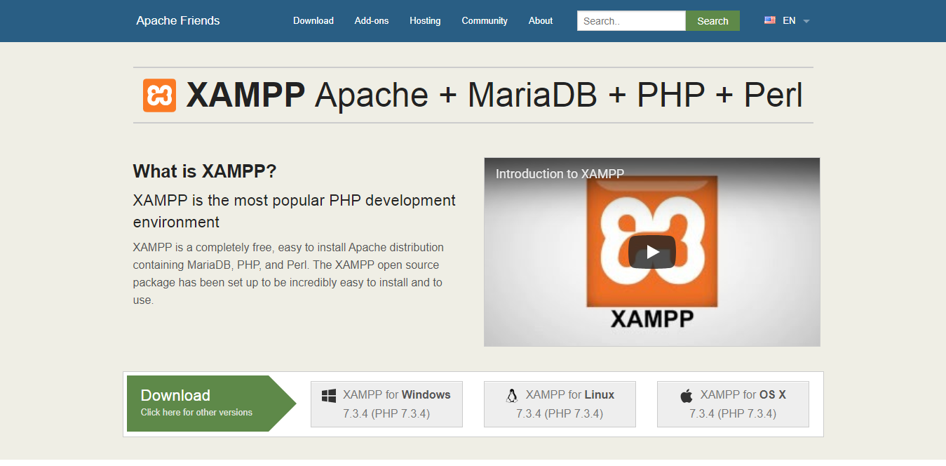 php installation using xampp