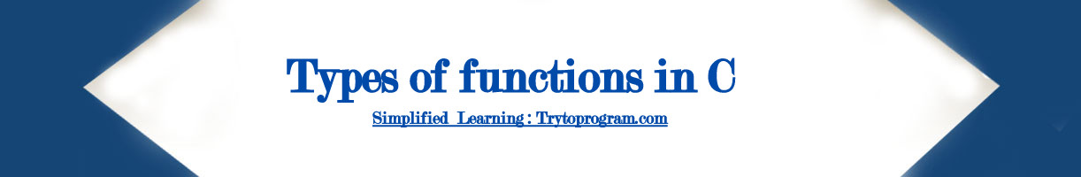 Types of user defined functions in c programming - Trytoprgram